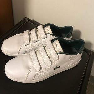 fcbc6fe89d47 Lacoste White Leather trainer sneaker with Velcro